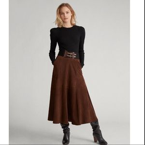 NWT Lauren Ralph Lauren Midi Skirt in Empire Brown